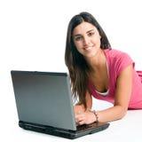 εργασία χαμόγελου lap-top κο&r Στοκ φωτογραφία με δικαίωμα ελεύθερης χρήσης