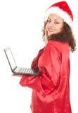 εργασία χαμόγελου santa lap-top κ&omic Στοκ φωτογραφία με δικαίωμα ελεύθερης χρήσης