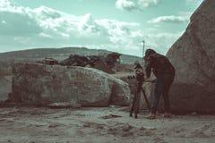 Εργασία χειριστών βιντεοκάμερων Στοκ φωτογραφίες με δικαίωμα ελεύθερης χρήσης