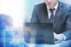 εργασία lap-top επιχειρηματιών Στοκ Εικόνα