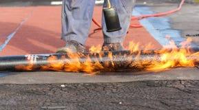 Εργασίες πυρκαγιάς για τη στέγη Στοκ φωτογραφίες με δικαίωμα ελεύθερης χρήσης