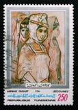 Εργασίες του ζωγράφου Ammar Farhat ` Bedouines `, αναμνηστικό serie, circa 1986 Στοκ Εικόνες