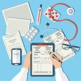 εργασιακός χώρος γιατρών Ιατρός που εργάζεται στην κλινική διανυσματική απεικόνιση