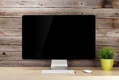 Εργασιακός χώρος γραφείων γραφείων με το PC Στοκ φωτογραφία με δικαίωμα ελεύθερης χρήσης
