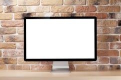 Εργασιακός χώρος γραφείων γραφείων με το PC Στοκ Φωτογραφίες