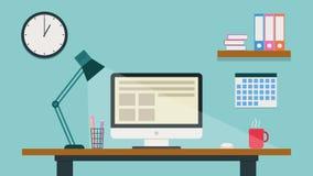 Εργασιακός χώρος κινούμενων σχεδίων Σύγχρονο ζωηρόχρωμο γραφείο Επίπεδη ζωτικότητα 4K απεικόνιση αποθεμάτων