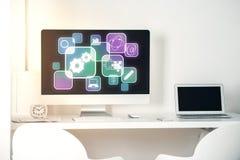 Εργασιακός χώρος με τα ψηφιακά εικονίδια Στοκ φωτογραφίες με δικαίωμα ελεύθερης χρήσης