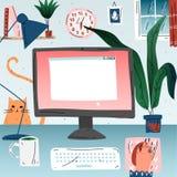 Εργασιακός χώρος με τον υπολογιστή στο σπίτι Χώρος εργασίας γραφείων απεικόνιση αποθεμάτων