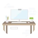 Εργασιακός χώρος με τον υπολογιστή στο επίπεδο σχέδιο Θέση για την εργασία και την εργασία γραφείων Στοκ εικόνες με δικαίωμα ελεύθερης χρήσης