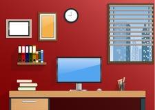 Εργασιακός χώρος στο δωμάτιο με την πόλη άποψης στο παράθυρο Στοκ εικόνες με δικαίωμα ελεύθερης χρήσης