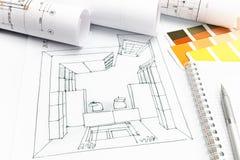 Εργασιακός χώρος σχεδιαστών με swatches χρώματος και το σκίτσο δωματίων Στοκ Εικόνες