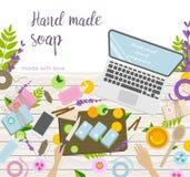 Εργασιακός χώρος του χεριού - γίνοντα καλλυντικά και παραγωγή σαπουνιών κύρια διανυσματική απεικόνιση