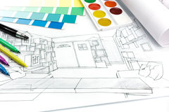 Εργασιακό περιβάλλον γραφείων σχεδιαστών Στοκ Εικόνες