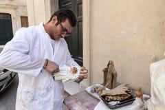 Εργαστήριο για ιερό αγαλματώδη σε Lecce στοκ εικόνα με δικαίωμα ελεύθερης χρήσης