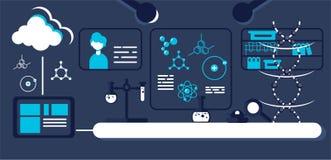 Εργαστήριο για τις γενετικές έρευνες με τον εξοπλισμό διανυσματική απεικόνιση
