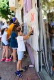 Εργαστήριο γκράφιτι για τα παιδιά και τους γονείς στο Τελ Αβίβ Στοκ Εικόνες