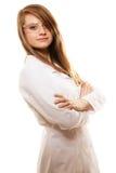 εργαστήριο Γυναίκα φαρμακοποιών στα γυαλιά προστατευτικών διόπτρων που απομονώνεται Στοκ Φωτογραφία