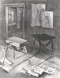 Εργαστήριο καλλιτεχνών ` s απεικόνισης με το sketchbook και τα φύλλα του εγγράφου Στοκ εικόνα με δικαίωμα ελεύθερης χρήσης