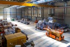 Εργαστήριο των εγκαταστάσεων με το φως της ημέρας ανελκυστήρων Στοκ Φωτογραφία