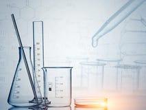 Εργαστηριακά γυαλικά, έρευνα επιστήμης, υπόβαθρο επιστήμης Στοκ Εικόνες