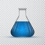 Εργαστηριακά γυαλικά ή κούπα Χημική εργαστηριακή διαφανής φιάλη με το μπλε υγρό επίσης corel σύρετε το διάνυσμα απεικόνισης Στοκ φωτογραφία με δικαίωμα ελεύθερης χρήσης
