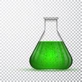 Εργαστηριακά γυαλικά ή κούπα Χημική εργαστηριακή διαφανής φιάλη με το πράσινο υγρό επίσης corel σύρετε το διάνυσμα απεικόνισης Στοκ Εικόνες