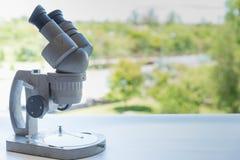 εργαστηριακό μικροσκόπιο ανασκόπησης πέρα από το λευκό Στοκ Εικόνα