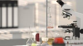 Εργαστηριακό μικροσκόπιο εργαστηριακού εξοπλισμού με το εργαστήριο γυαλικών εργαστηρίων, ερευνητικό υπόβαθρο ανάπτυξης επιστημόνω ελεύθερη απεικόνιση δικαιώματος