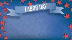 Εργατική Ημέρα στο έμβλημα, τέταρτο της υπόβαθροης Ιουλίου, κόκκινα αστέρια, αντίγραφο Στοκ Εικόνες