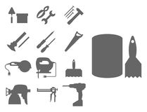Εργατών οικοδομών εξοπλισμού σκιαγραφιών σπιτιών διανυσματική απεικόνιση βιομηχανίας ξυλουργικής εργαλείων ανακαίνισης handyman απεικόνιση αποθεμάτων
