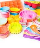 Εργαλεία βιομηχανιών ζαχαρωδών προϊόντων σιλικόνης ουράνιων τόξων Στοκ εικόνα με δικαίωμα ελεύθερης χρήσης