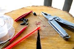 Εργαλεία για να επιπλεύσει την αλιεία Στοκ εικόνες με δικαίωμα ελεύθερης χρήσης