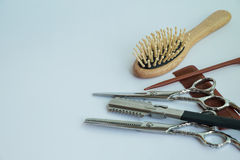 Εργαλεία για τα hairdressors, εξαρτήματα τρίχας Στοκ Φωτογραφία