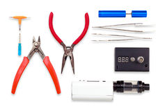 Εργαλεία για το ηλεκτρονικό τσιγάρο συντήρησης Στοκ Φωτογραφίες