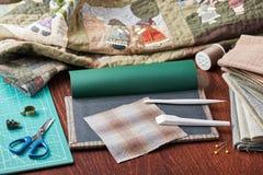 Εργαλεία για το πάπλωμα Applique Στοκ Εικόνες