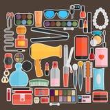 Εργαλεία για το makeup Επίπεδο σχέδιο Στοκ φωτογραφία με δικαίωμα ελεύθερης χρήσης