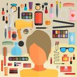 Εργαλεία για το makeup Επίπεδο σχέδιο Στοκ εικόνα με δικαίωμα ελεύθερης χρήσης