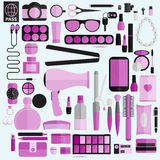 Εργαλεία για το makeup Επίπεδο σχέδιο Στοκ Εικόνα