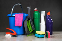 Εργαλεία καθαρίζοντας προϊόντων Στοκ Φωτογραφία