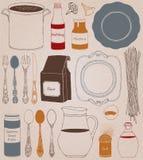Εργαλεία και τρόφιμα κουζινών Εγχώριο μαγειρεύοντας υπόβαθρο Απεικόνιση αποθεμάτων