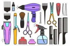 Εργαλεία καταστημάτων κουρέων απεικόνιση αποθεμάτων