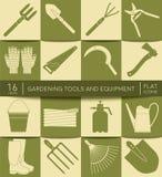 εργαλεία κηπουρικής εξ& Επίπεδα εικονίδια Σύνολο εργαλείων γεωργίας Στοκ εικόνες με δικαίωμα ελεύθερης χρήσης