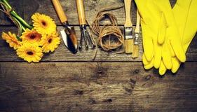 Εργαλεία κηπουρικής, λουλούδια, γάντια σχοινιών, βουρτσών και κηπουρικής επάνω Στοκ φωτογραφία με δικαίωμα ελεύθερης χρήσης