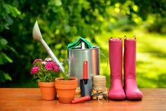 Εργαλεία κηπουρικής στον ξύλινο πίνακα και το πράσινο υπόβαθρο Στοκ φωτογραφία με δικαίωμα ελεύθερης χρήσης