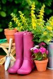 Εργαλεία κηπουρικής στον ξύλινο πίνακα και το πράσινο υπόβαθρο Στοκ φωτογραφίες με δικαίωμα ελεύθερης χρήσης