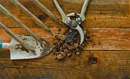 Εργαλεία κηπουρικής στους αγροτικούς ξύλινους πίνακες Στοκ Εικόνες