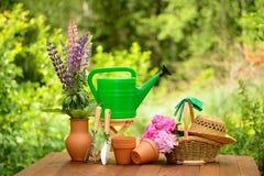 Εργαλεία κηπουρικής στο πράσινες υπόβαθρο και τη χλόη Στοκ Φωτογραφία