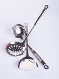 εργαλεία κουζινών ή υψηλός - εργαλεία ποιοτικών κουζινών στο υπόβαθρο Στοκ Εικόνες