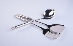 εργαλεία κουζινών ή υψηλός - εργαλεία ποιοτικών κουζινών στο υπόβαθρο Στοκ Φωτογραφία