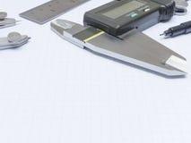 Εργαλεία μέτρησης σε χαρτί γραφικών παραστάσεων Στοκ Εικόνες